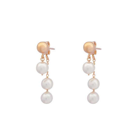 Whisper Pearl Swing Earrings - Rose Gold