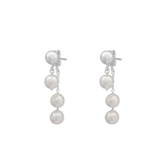 Whisper Pearl Swing Earrings - Silver