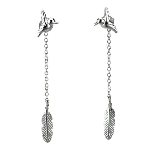 Bird and Feather Drop Swing Earrings