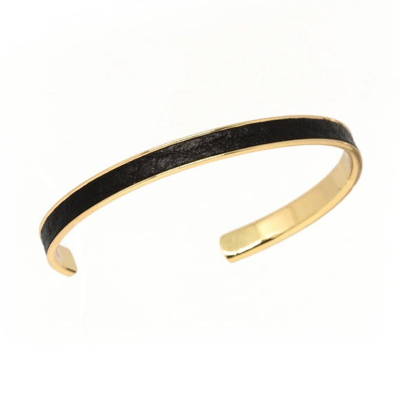 Black Leather Cuff - Gold