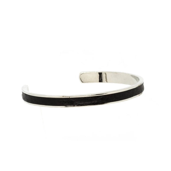Black Leather Cuff - Silver