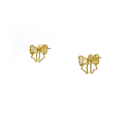 Gold Bow Lace Ear Studs