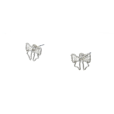 Silver Bow Lace Ear Studs