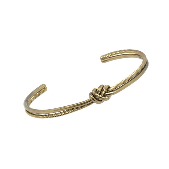Two Tone Knotted Bangle  - Cafe Silver