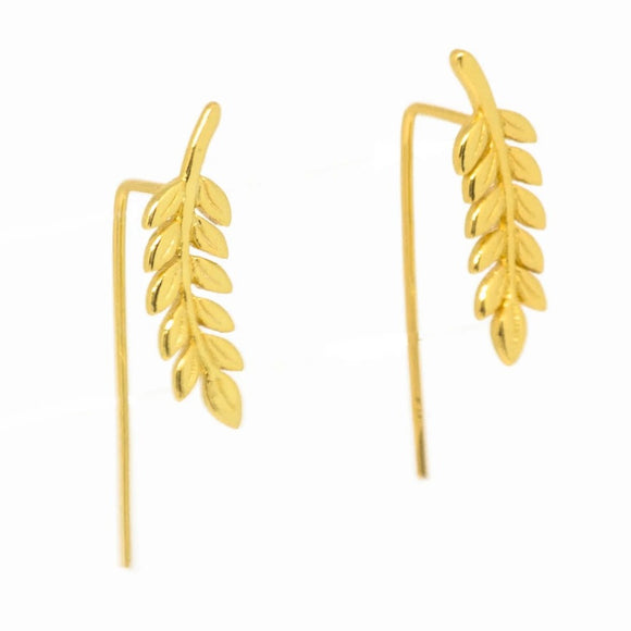 Common Ash Leaf Branch Ear Cuffs - Gold