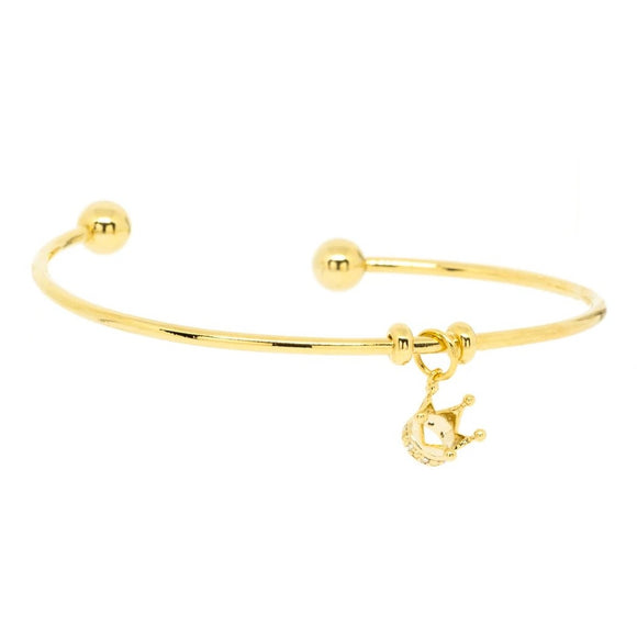 Crown Pendant Cuff Bangle - Gold