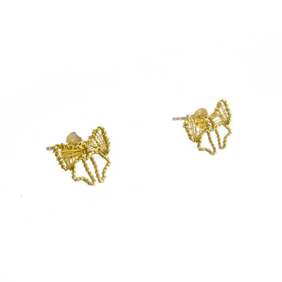 Gold Bow Lace Ear Studs, Earrings - Blaack Fox