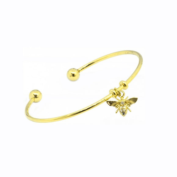 Bee Pendant Cuff Bangle - Gold