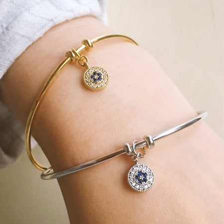 Blue Star Pendant Cuff Bangle - Gold