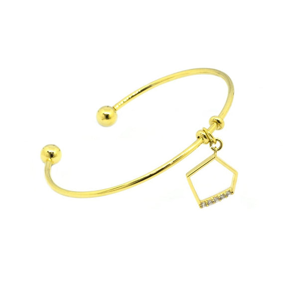 Pentagon Pendant Cuff Bangle - Gold
