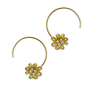 Gold Flower Hook Earrings, Earrings - Blaack Fox
