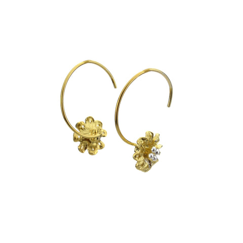 Gold Flower Hook Earrings - Blaack Fox