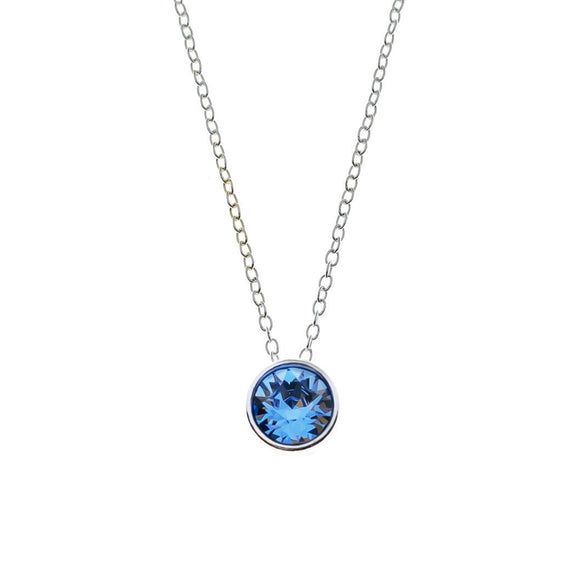 Round Swarovski Necklace - Blue