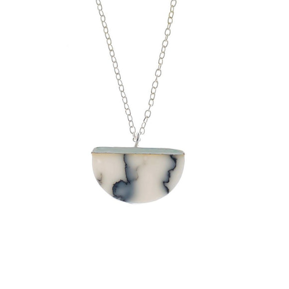 Semi Circle Marble Necklace, Necklace - Blaack Fox