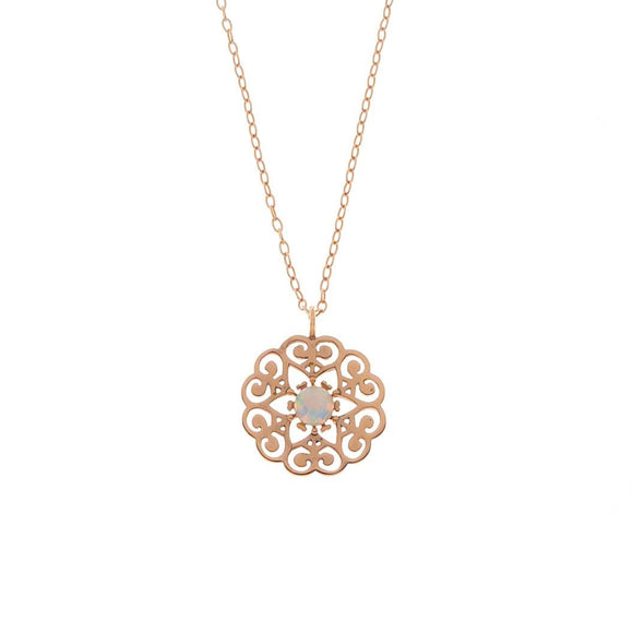 Opal Stone Rose Gold Necklace, Necklace - Blaack Fox