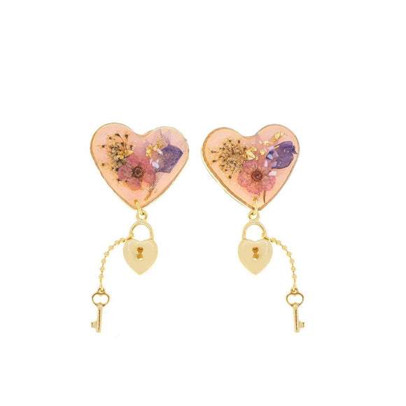 Resin Lock Love Earrings - Pink