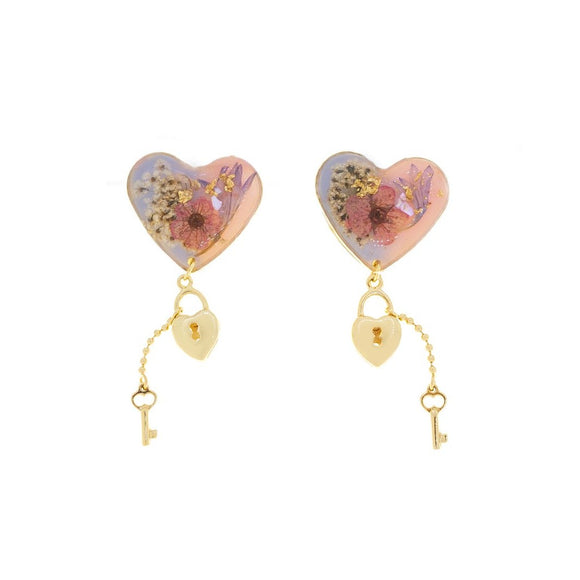 Resin Lock Love Earrings - Mixed Pink
