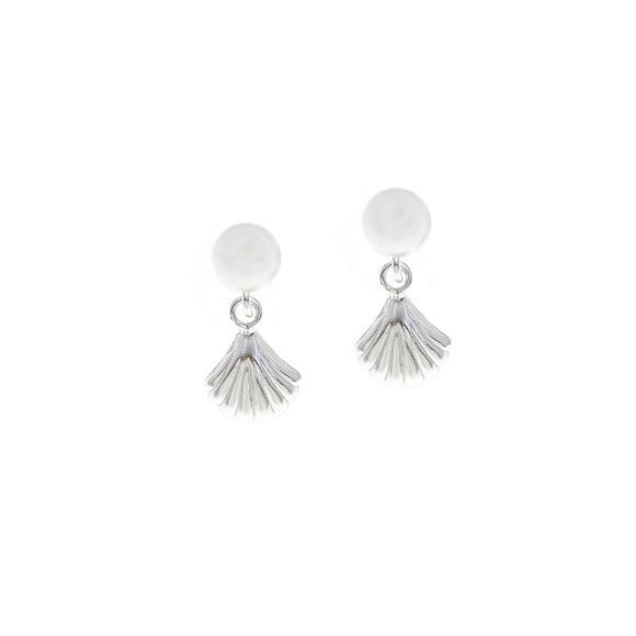 Pearl Stud with Seashell Drop Earrings