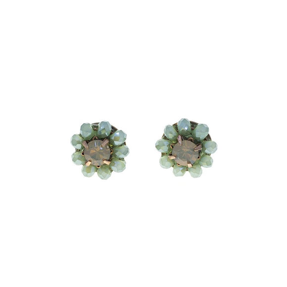 Flower Bead Ear Studs - Mint