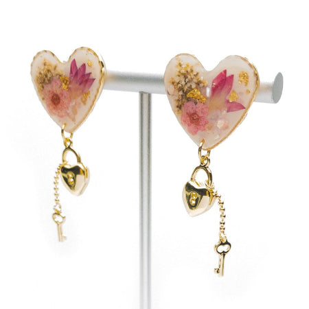 Resin Love Lock Earrings