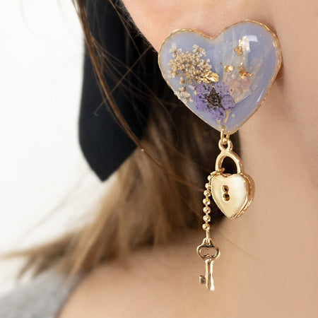 Resin Lock Love Earrings - Lavender