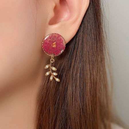 Florela Resin Drop Earrings - Magenta