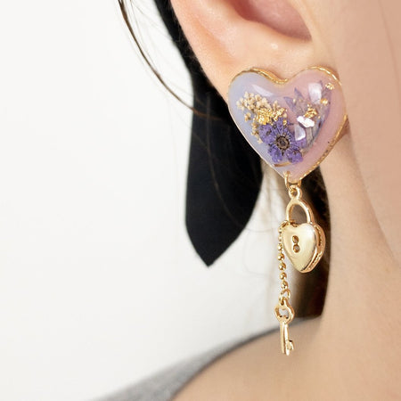 Resin Lock Love Earrings - Mixed Purple