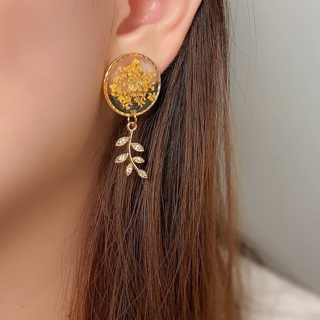 Florela Resin Drop Earrings - Yellow