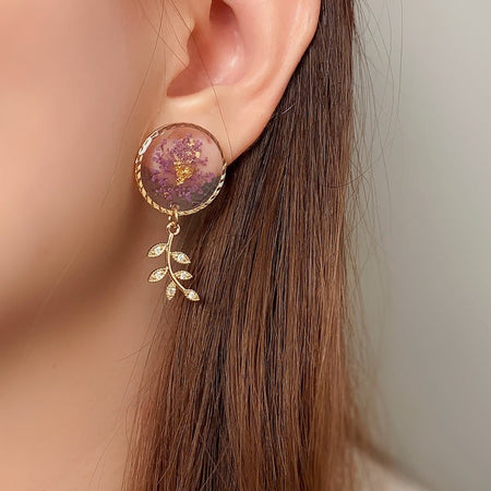 Florela Resin Drop Earrings - Purple