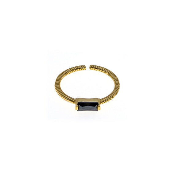 Shadow Rectangle Obsidian Adjustable Ring