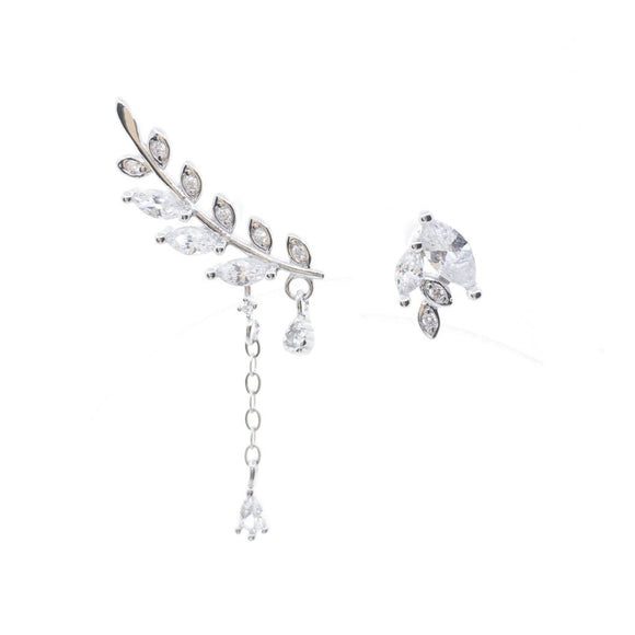 Mismatch Leaf Fairy Earrings - Silver