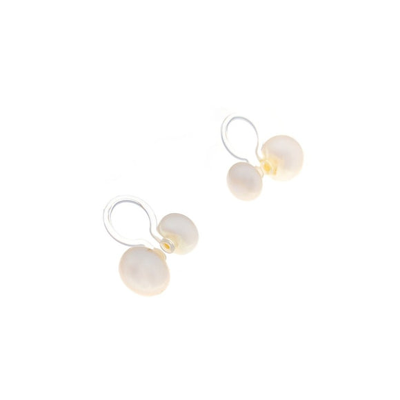 Clip-on Double Pearl - White