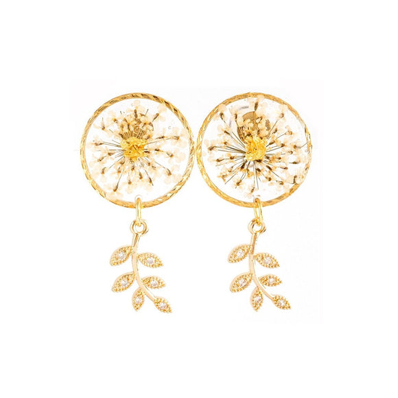 Florela Resin Drop Earrings - White
