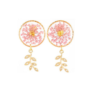 Florela Resin Drop Earrings - Pink
