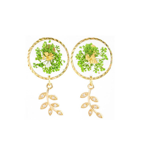 Florela Resin Drop Earrings - Green