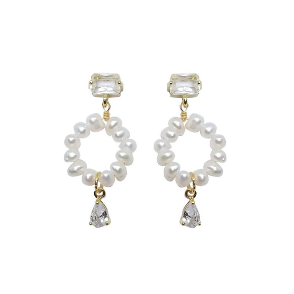Square Rhinestone Stud Pearl Drop Earrings