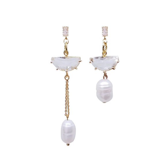 Mismatch Gem & pearl Drop - White