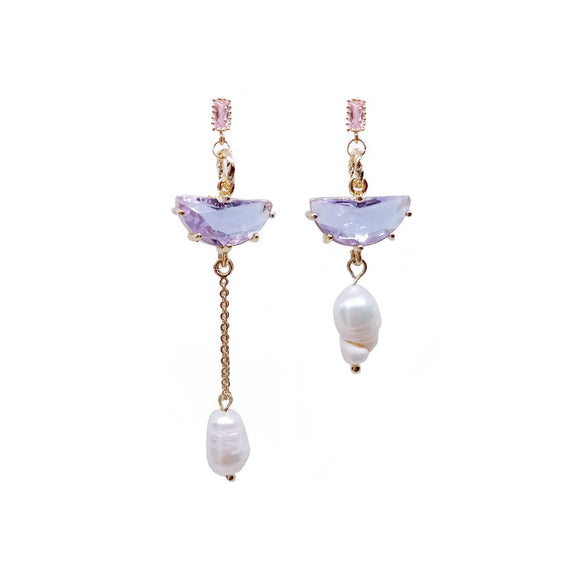 Mismatch Gem & pearl Drop - Purple