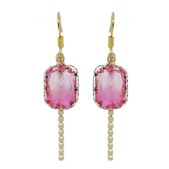 Rectangle Crystal Drop - Pink