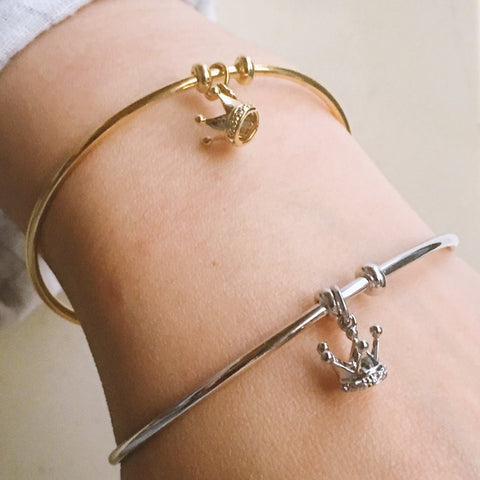 Crown Pendant Cuff Bangle - Silver