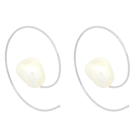 Hoop Pearl Earrings -  Silver