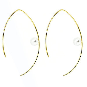 Vermeer Pearl Pull Through Hoop Earrings -  Gold, Earrings - Blaack Fox