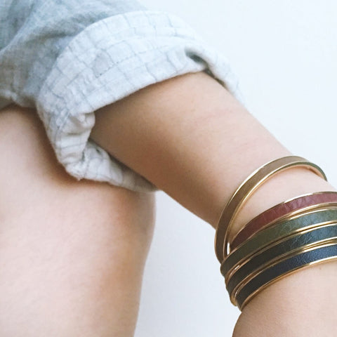 Khaki Leather Cuff - Gold
