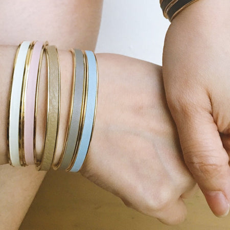 Beige Leather Cuff - Gold