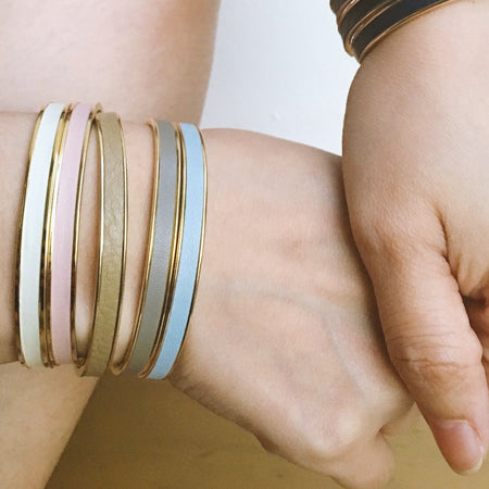White Leather Cuff - Gold, Bracelet - Blaack Fox
