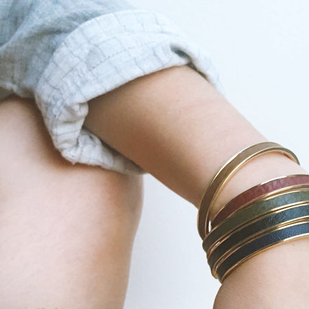 Navy Leather Cuff - Gold