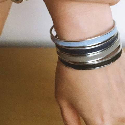 Light Blue Leather Cuff - Silver