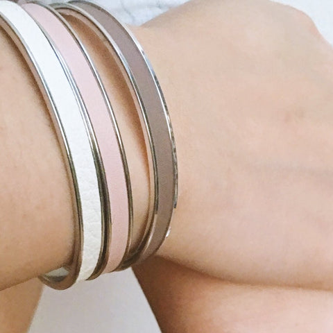 Pink Leather Cuff - Silver