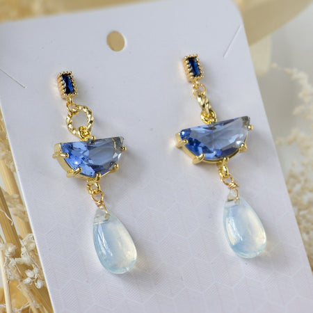Sapphire Tear Earrings - Blue