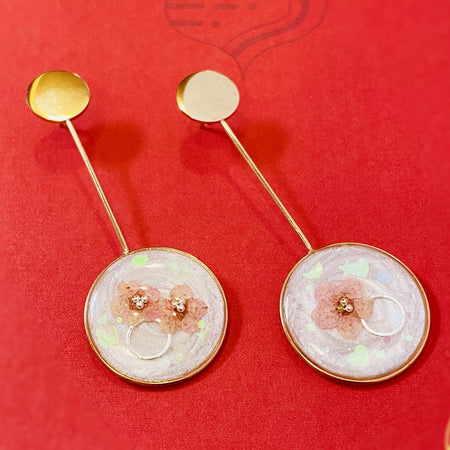 Open Circle Drop Earrings - Rose Gold